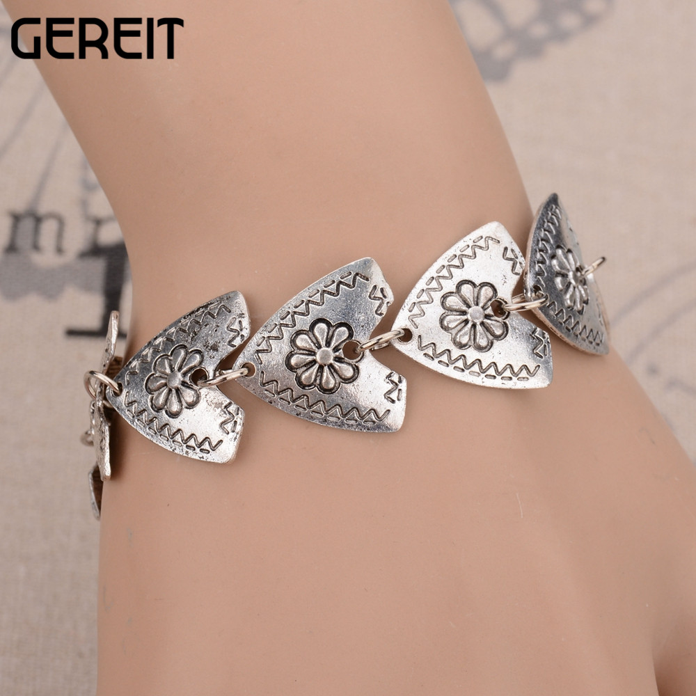 GEREIT Vintage New Ethnic Silver Plated Gypsy Jewelry Triangle Flower Carved Bracelets Bangles Turkish Boho Bracelet For Ladies