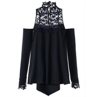 LANGSTAR 2017 Autumn Plus Size 5XL Cold Shoulder Mock Neck Long Sleeves T Shirt Fashion Black