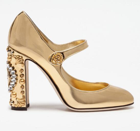 Newest metallic gold leather high heel shoe round toe crystal embellished clock thick heels woman pumps ankle strap woman shoes fashion crystal embellished woman shoes gold metallic round toe slip on casual shoes 2017 high quality suede loafers