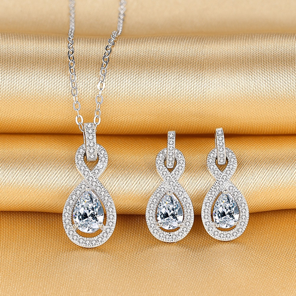 Bella Fashion 925 Sterling Silver Infinity Bridal Necklace Earrings Set Cubic Zircon Wedding Party Jewelry Set Party Daily Gift bella fashion 925 sterling silver lucky horseshoe bridal necklace cubic zircon pendant chain necklace for wedding party jewelry