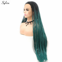 Sylvia Synthetic Lace Front Braid Wigs Green Color High Quality Wigs Braided Wigs For Women Cosplay Drag Queen Wigs Black Roots