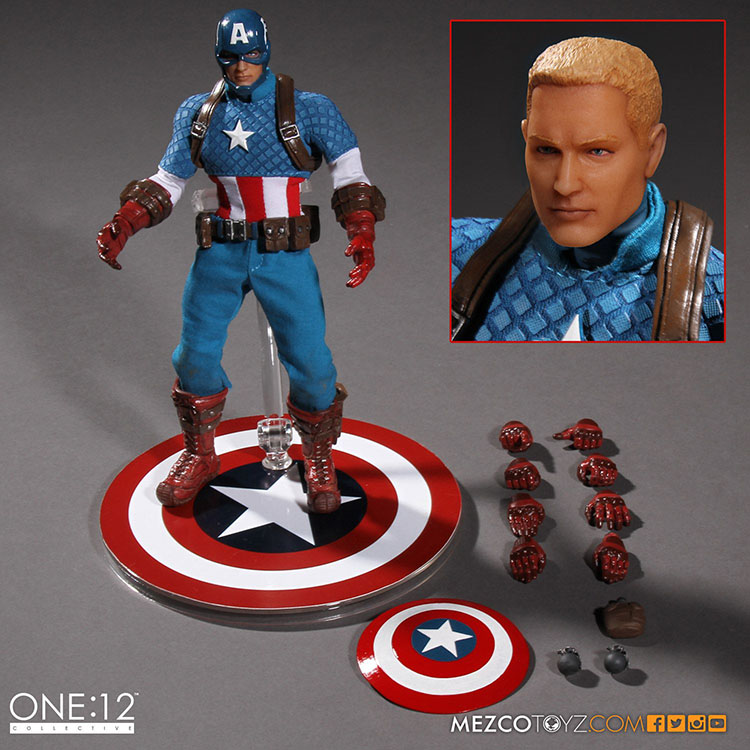 MEZCO Marvel Captain America  Version One:12 Collective High Quality BJD Action Figure Toys