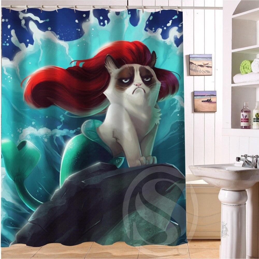 Custom Grumpy Cat of Little Mermaid Waterproof Polyester Fabric Bathroom Shower Curtain