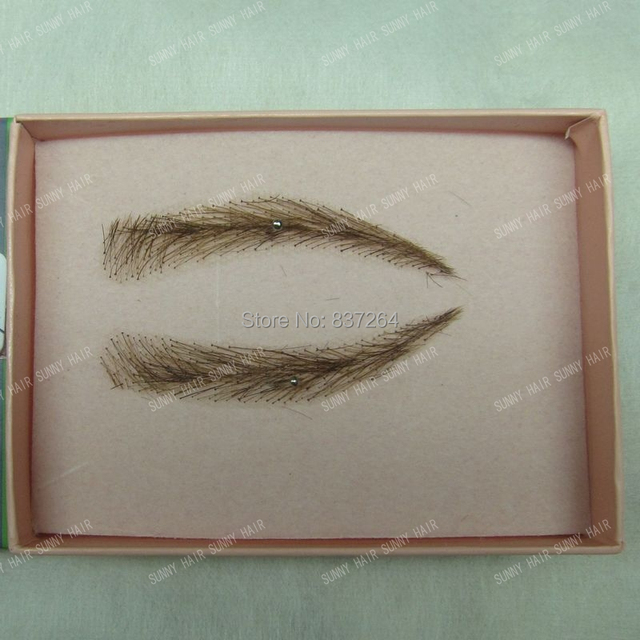 whole sale hand made human hair false eyebrow 013 dark brown color invisible net 3