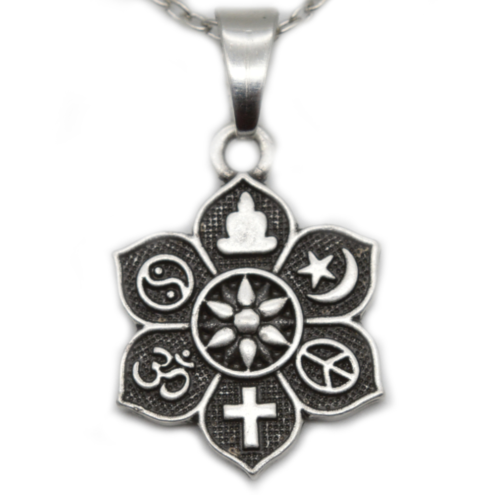 20pcs COEXIST Tibetan Silver Lotus Pendant OM Religious Belief Necklace For Women Men Fashion Jewelry SGL221