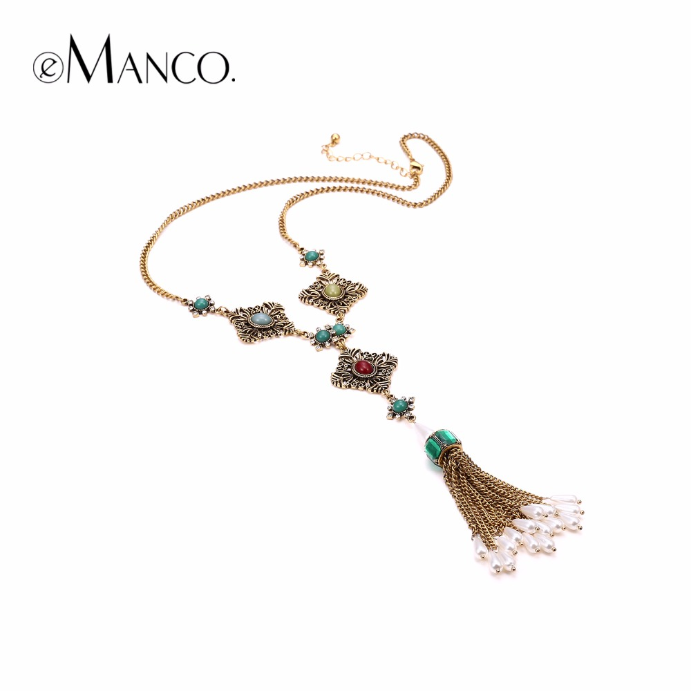 eManco Women's Vintage Green Glass Gray Yellow Red Resin Pendant Chain Necklace Ethnic long tassel 2017 fashion Necklace Jewely