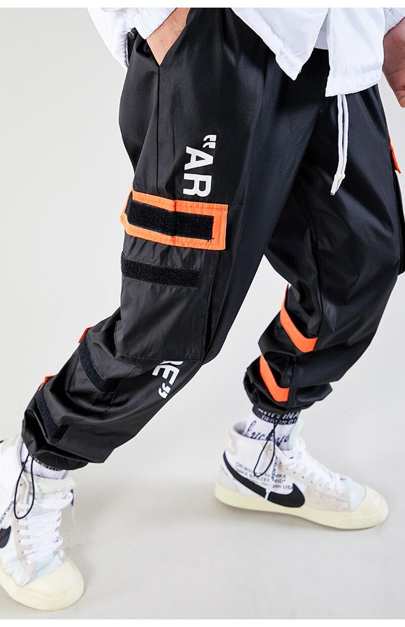 Aolamegs Men Casual Track Pants Splicing Contrast Pants Men Elastic Waist Sweatpants Men High Street Hip Hop Pants Streetwear (19)