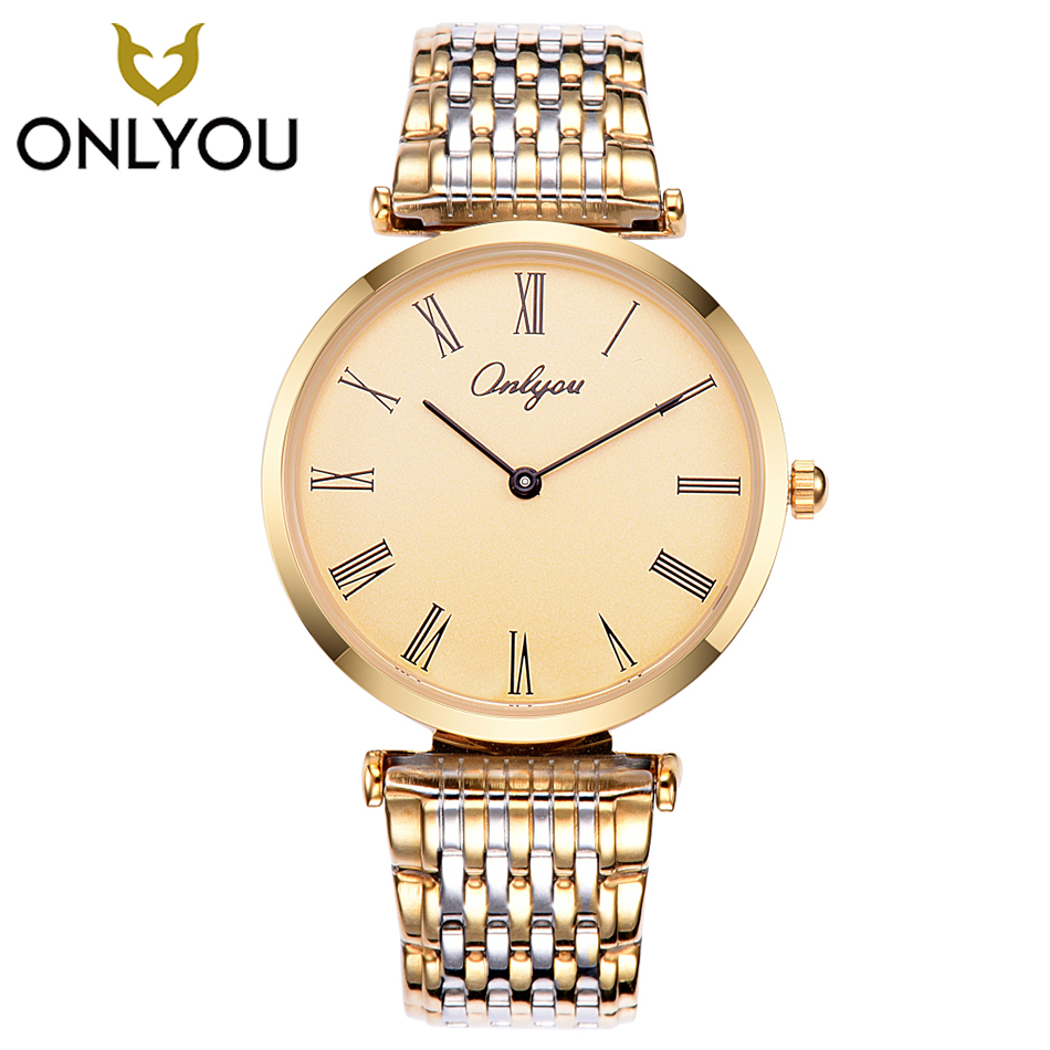 ONLYOU Relogio Feminino Clock Luxury Brand Women Watch Stainless Steel Watches Ladies Fashion Casual Men Watch Quartz Wristwatch megir brand luxury women watches fashion quartz ladies watch sport relogio feminino clock wristwatch for lovers girl friend