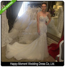 Sweetheart Beaded Mermaid Wedding Dress 2016 Real Pictures Lace Wedding Dress Tulle Bridal Wedding Gown Vestido De Noiva SL-W57