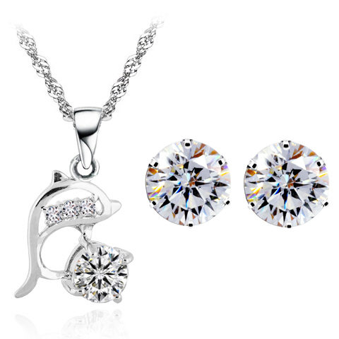 dolphin love lover birthday mum gifts brand zircon pendant chain necklace earrings jewelry sets 925 sterling silver