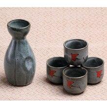 5pcs 170ML Japanese Porcelain Hand Painted Wine Cup Sake Pot Cups Set Kitchen Dining Bar Drinkware Hip Flasks Porcelain Tea Cup