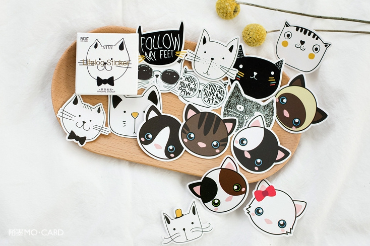 S32- Lovely Cat Diy Decorative Sticker(1pack=45pieces)