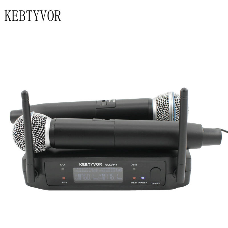 Professional GLXD242/BETA58 UHF Dual Handheld Karaoke Wireless Microphone System professional karaoke wireless microphone system 2 channels led display receiver cordless handheld mike for mixer stage computer