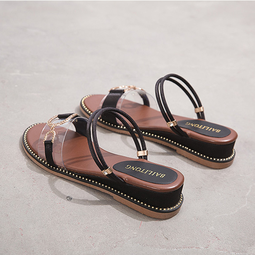 New Fashion Women Sandals Wedges Sandals Black Apricot Green Spring Summer Female Shoes Casual Lady Shoes Woman Footwear in Middle Heels from Shoes