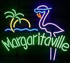 Margaritaville Paradise Pink Flamingo Glass Neon Light Sign