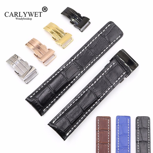 CARLYWET 22 24mm Black Brown Blue Replacement Real Cowhide Leather Wrist Watch B