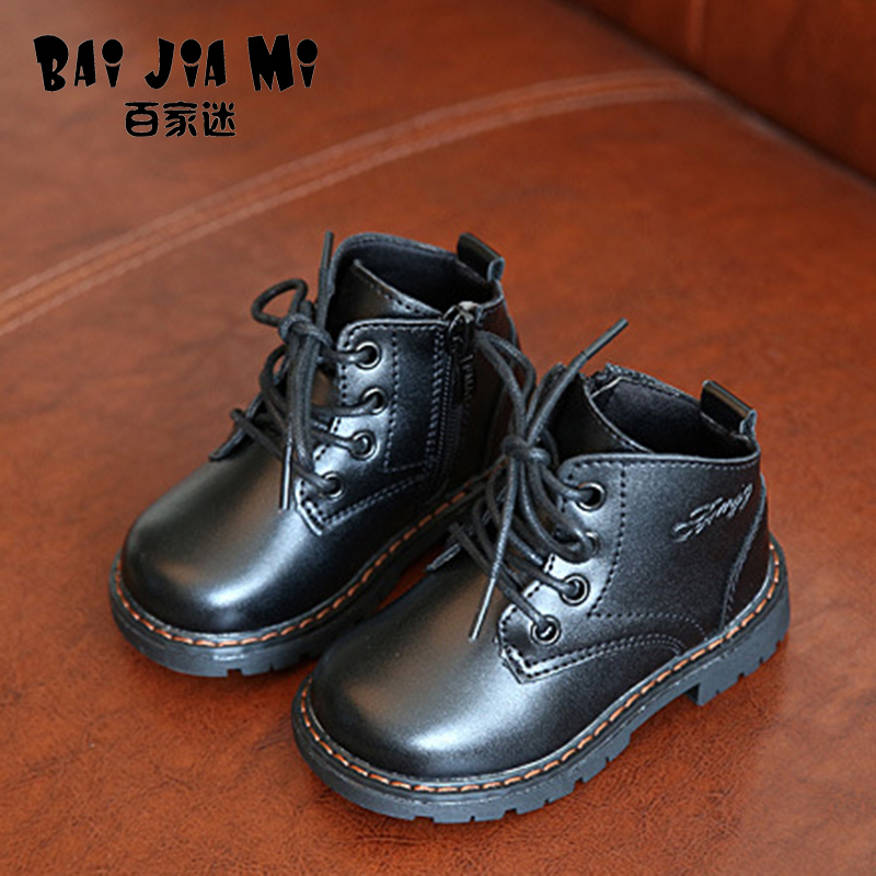 BAIJIAMI Children's Boots Autumn And Winter Children's Shoes Big Head Boots Boys And Girls Single Boots Non-slip Rubber Shoes 2014 new autumn and winter children s shoes ankle boots leather single boots bow princess boys and girls shoes y 451
