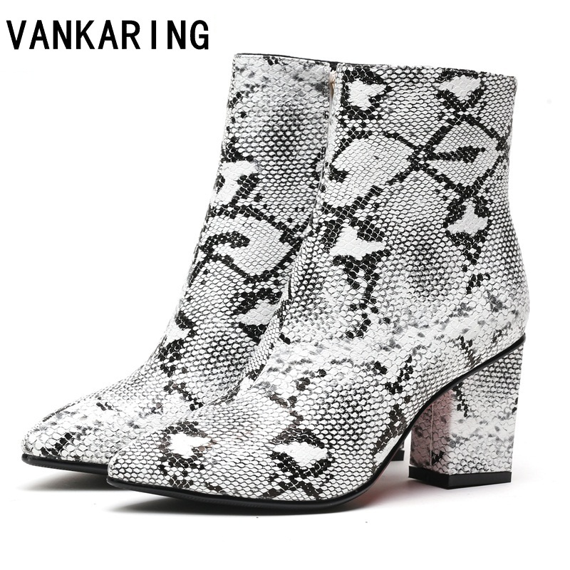 VANKARING brand shoes print snake microfiber leather high heels ankle boots for women footwear female warm winter boots women facndinll print snake microfiber leather ankle boots for women pointed toe footwear high heels female party winter boots women