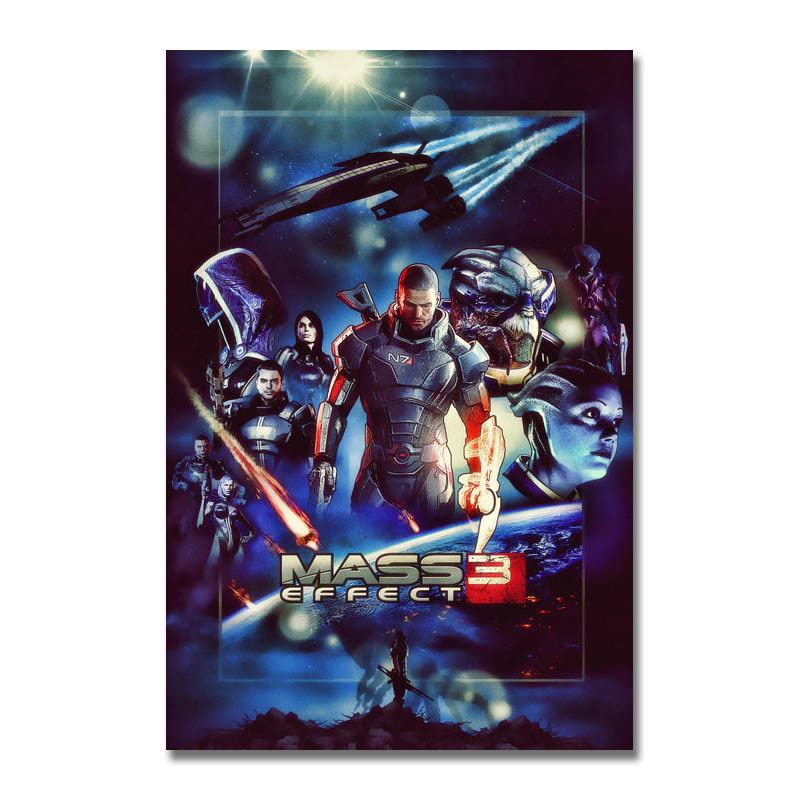 Art Silk Or Canvas Print Mass Effect Hot Game Poster 13x20 24x36 inch For Room Decor Decoration-005 image