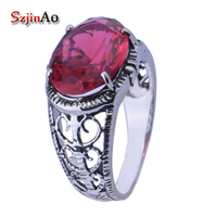 Szjinao handmade charms retro socialite female ring 925 sterling silver engagement ring ruby crystal jewelry wholesale