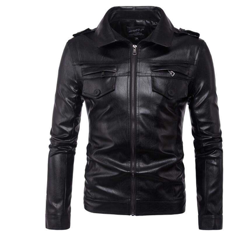Heren lederen jassen slanke motorfiets jas mannen jassen kleding gepersonaliseerde jaqueta de couro stage street Korte hoofdstuk mode