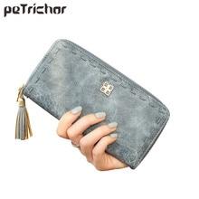 2017 New Arrive Cause Tassel Women Wallets Soft Faux Suede Ladies Purse Vintage Card Phone Bag