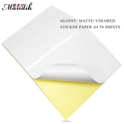 80g A4 50 ورقة لاصقة ملونة للطباعة النافثة للحبر أو الطباعة بالليزر