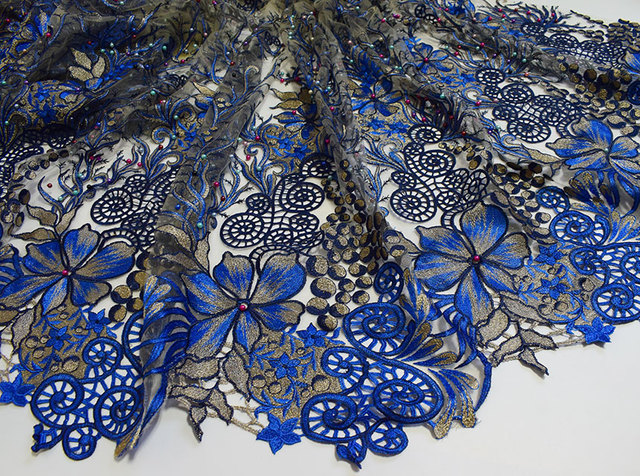 Royal blue Gold classic big french Lace sewing fabric with lots of ...