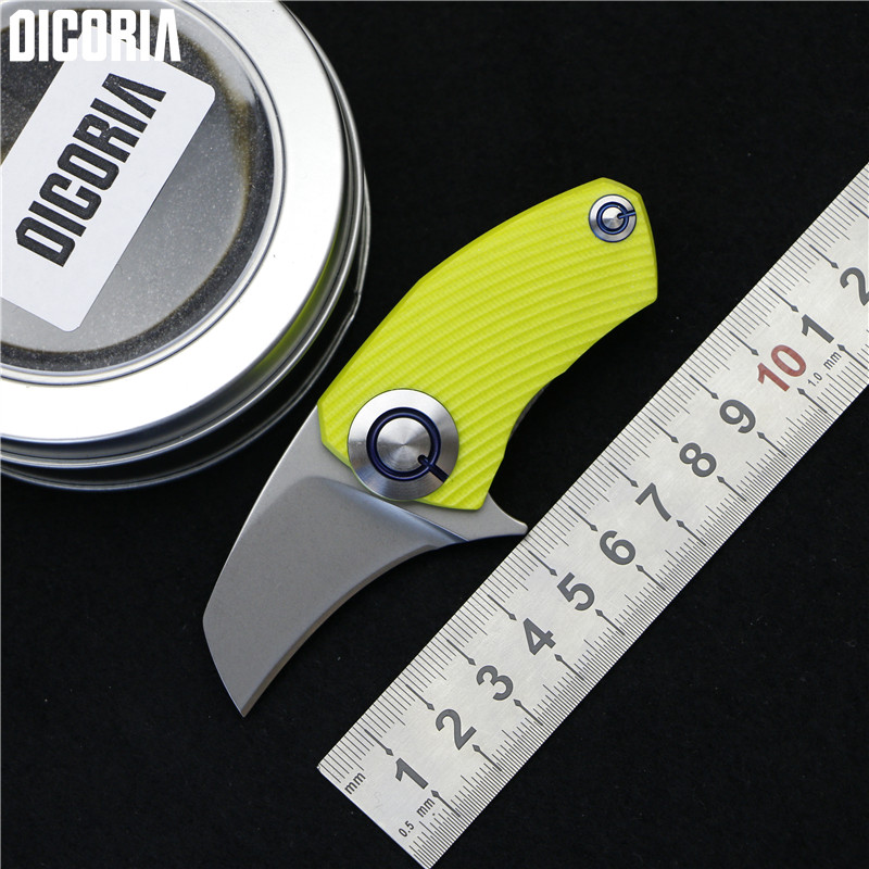 DICORIA SiDis Parrot Mini Flipper folding knife 9cr18mov blade G10 Titanium Handle Hunting pocket camping fruit knives EDC tools quality tactical folding knife d2 blade g10 steel handle ball bearing flipper camping survival knife pocket knife tools