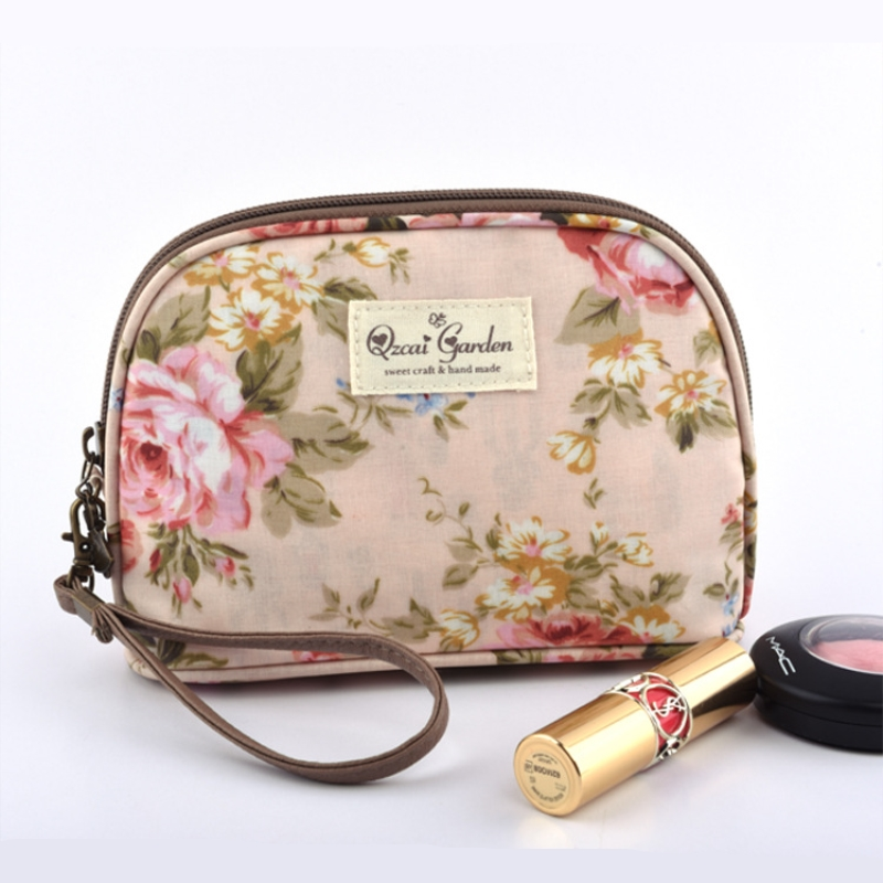 2018 floral cosmetics cases make up bags travel organizer wash punch women bags CHALLEN brand Frosted glass cloth