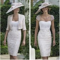Vestido de Madrina 2016 vestido Corto Elegante Madre de Vestido de Novia encaje Satinado Perlas Chaqueta Novio Vestido de La Madre Vestido mae da Noiva