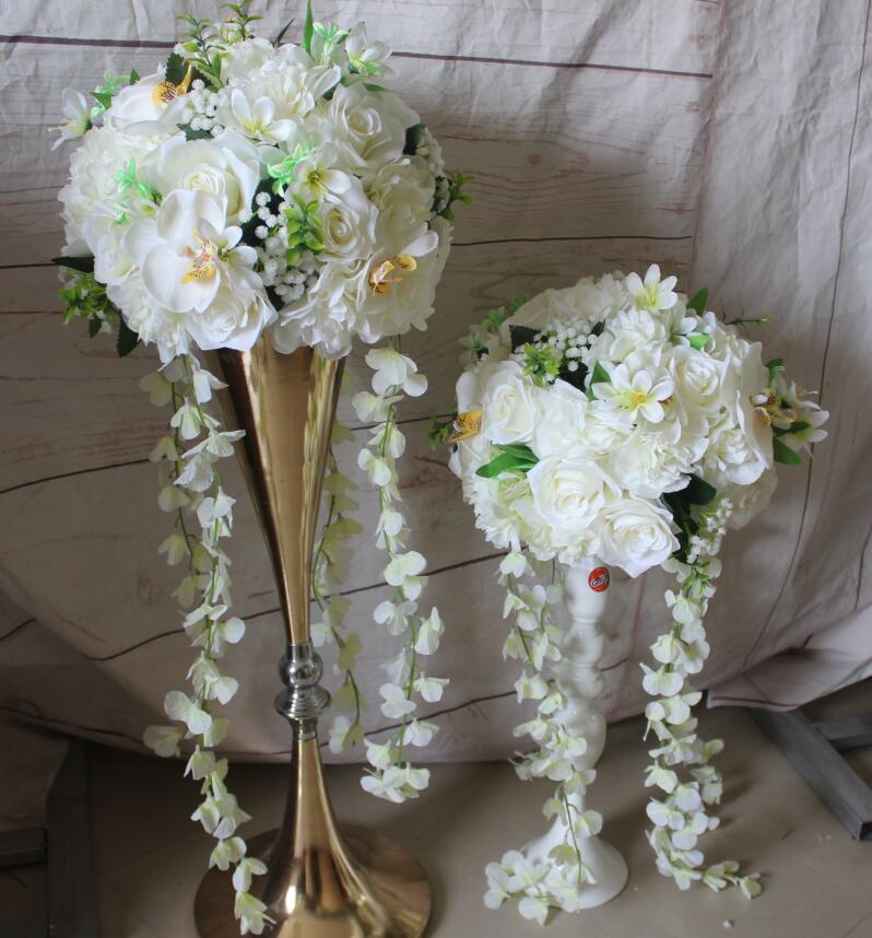 SPR! 무료 배송! 10pcs / lot 결혼식 도로 리드 인공 꽃 공 결혼식 테이블 꽃 꽃 장식 공 장식