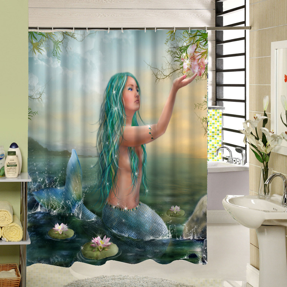 Mermaid shower curtains - 2017 New Mermaid Waterproof Shower Curtain 3d Print Bathroom Products Custom Polyester Bath Curtain Scenery 12 Hook