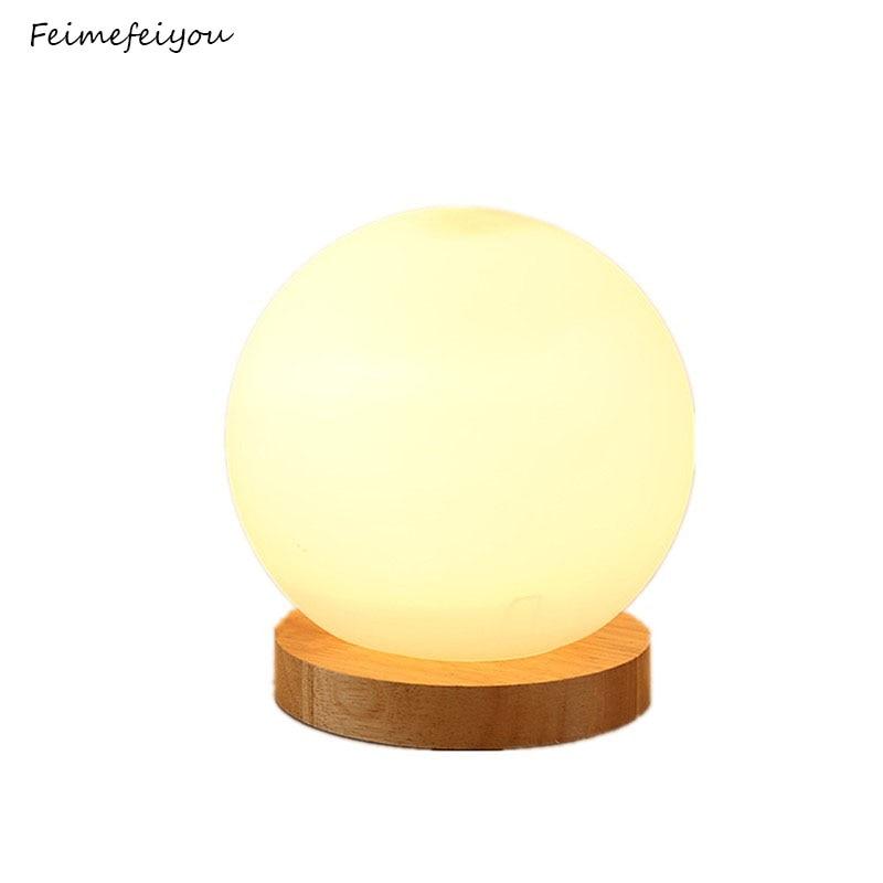 Feimefeiyou 18cm simple glass creative warm dimmer night light desk bedroom bed decoration ball wooden small round desk lamp