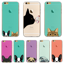 Мягкий Чехол ТПУ Для Apple iPhone 7 7 Плюс Случае Случаях телефон Оболочки Супер Мило Дизайн Ультра Тонкий Забавный Кот Собака модели