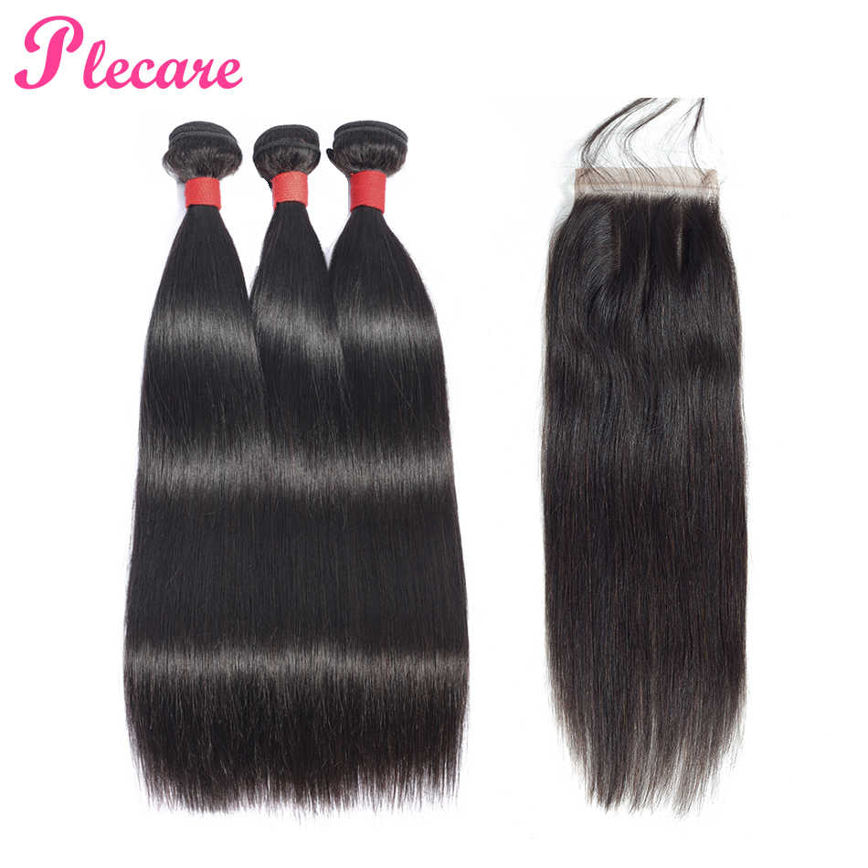 Plecare Bundles With Closure Brazilian Straight Hair Weave 3 Bundles With Closure Human Hair Weave Bundles With Closure Non Remy