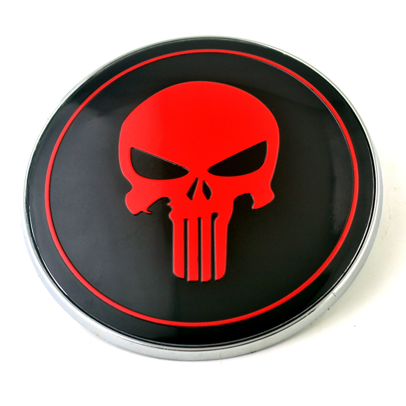 SKULL Custom License Plate BONES Emblem RED BLUE Version