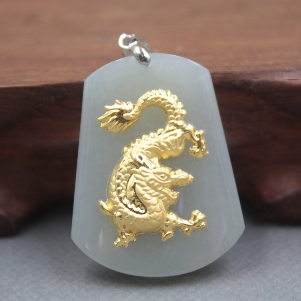 New Fine 24K Yellow Gold & Hetian Jade Pendant Women Men Dragon Pendant 37x30mm