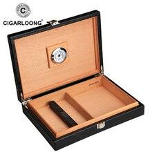CIGARLOONG Cigar Box Cedar Wood Portable Crocodile Leather Humidors Case