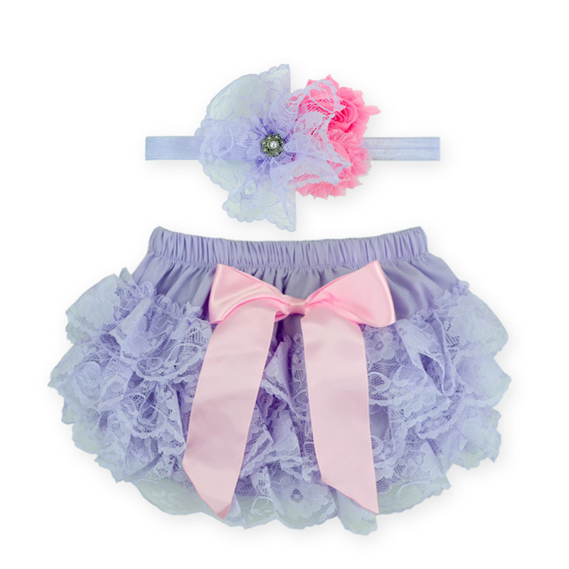 Cute Free Shipping Lace Bloomer with Flower Headband Ribbon New Born Baby Underwear Summer Training Shorts Nappy Diapers Baby