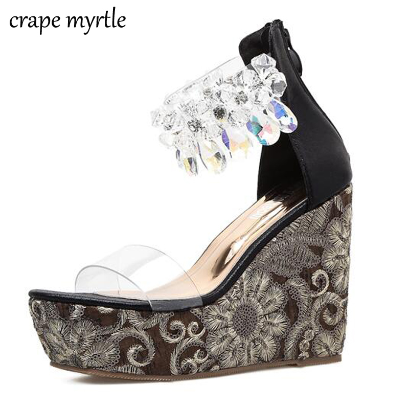 480016ec2c3721 rhinestone Sandals 2018 Sexy pumps peep Toe High Heels Wedges Sandals  Summer shoes Women gold Sandals Women crystal Shoes YMA178