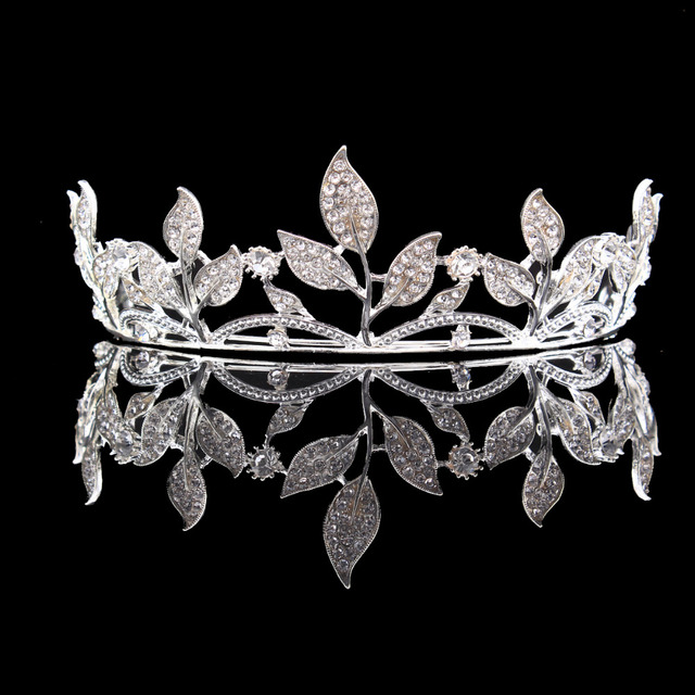 Silver Color Alloy Crystal Leaf Rhinestones Flower Tiara Bridal Wedding  Crown Headbands HG00239 98a3646554cc