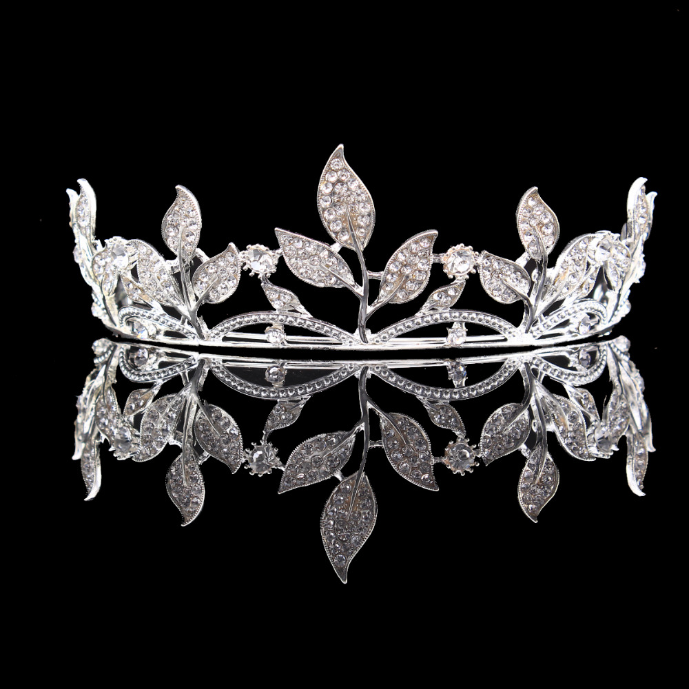 Silver Color Alloy Crystal Leaf Rhinestones Flower Tiara Bridal Wedding Crown Headbands HG00239