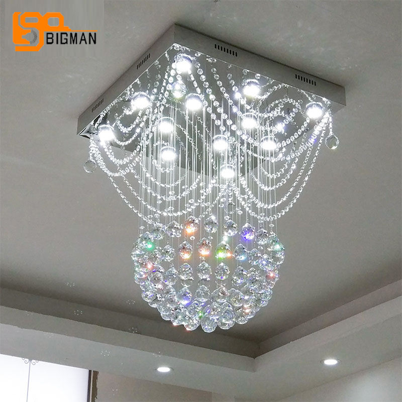 Modern Crystal Chandelier Lighting Gu10 Luminare Square Living Room Bedroom Led Light Fixtures In Chandeliers From Lights On Aliexpress