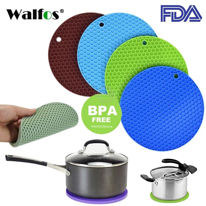 WALFOS 18cm Round Silicone Non-slip Heat Resistant Mat Coaster Cushion Placemat Pot Holder Kitchen Accessories