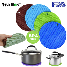 WALFOS 18cm Round Silicone Non-slip Heat Resistant Mat Coaster Cushion Placemat Pot Holder Kitchen Accessories 1pc round silicone cup mat non slip heat resistant mat coaster bowl coffee cup placemat holder table mat kitchen accessories