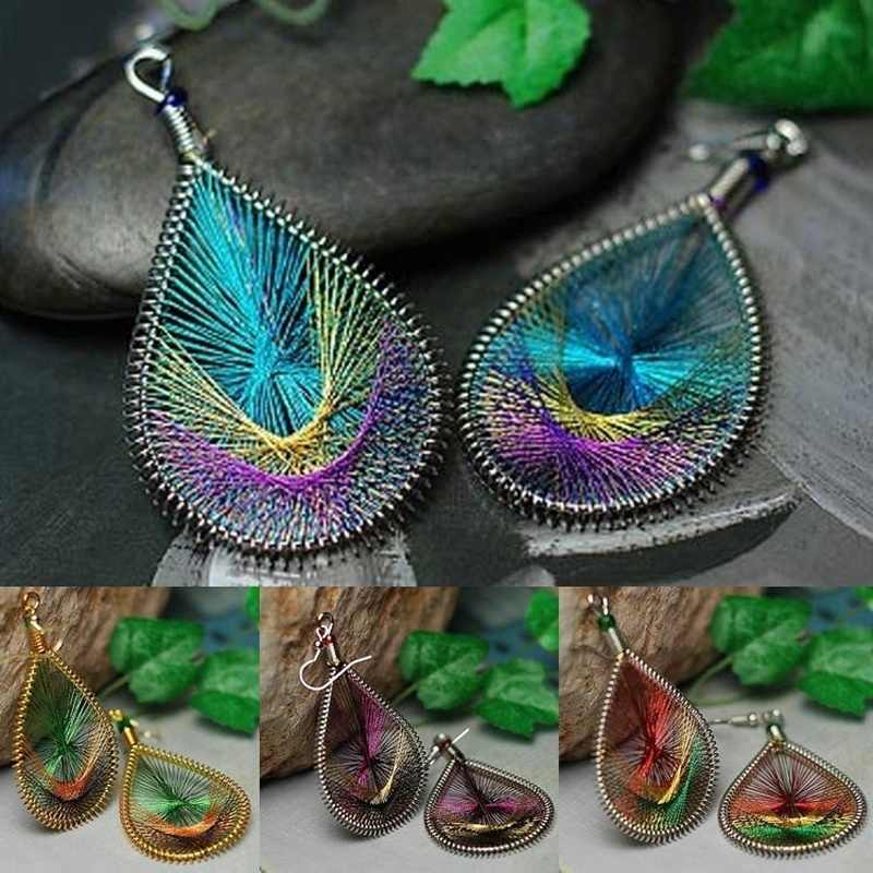 Hot 1 Pair Trendy Women Elegant Cute Peacock tail wire Gold thread Earrings Jewelry