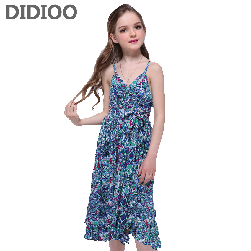 Long Bohemian Dresses Girls Floral Maxi Dress Vestidos