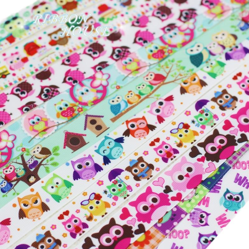 (5 yards/lot) 22mm Grosgrain Printed Colorful Cartoon Owl Ribbon Wholesale Christmas Ribbons