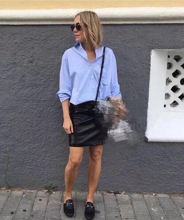 Kadın Giyim'ten Bluzlar ve Gömlekler'de WISHBOP Kadın Mavi Pamuk Boy Capri gömlek Erkek Arkadaşı Gömlek Kadın en YÜKSEK KALITE'da  Grup 1